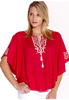 Karen Kane Coral Reef Embroidered Angel Top