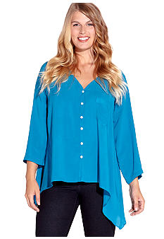 Karen Kane Plus Size Roll Sleeve Shirt
