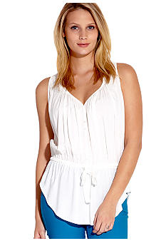 Karen Kane Coral Reef Sleeveless V-Neck Drawstring Top