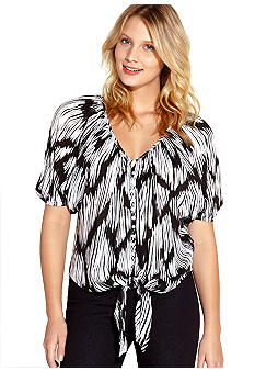 Karen Kane Electric Tide Button Tie Top