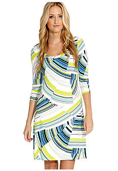 Karen Kane Electric Tide Three Quarter Sleeve A Line Dress