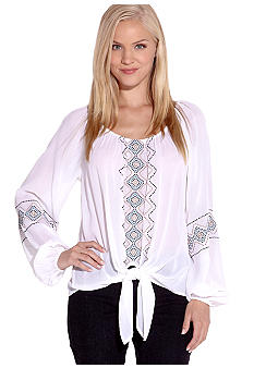 Karen Kane Indigo Bay Embroidered Knot Top