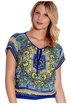 Karen Kane Electric Tide Keyhole Scarf Top
