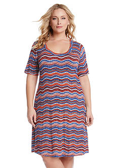 Karen Kane Plus Size Wavy Print T-Shirt Dress