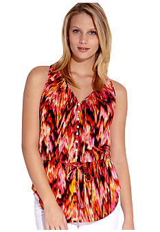 Karen Kane Coral Reef Sleeveless Drawstring Top
