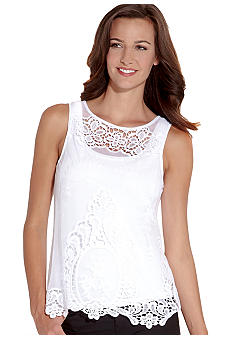 Karen Kane Electric Tide Crochet Mesh Tank