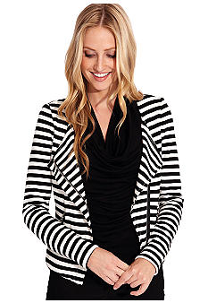 Karen Kane Indigo Bay Stripe Motorcycle Jacket