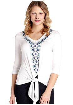 Karen Kane Electric Tide Three-Quarter Sleeve Placed Print Tie Top