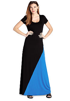 Electric Tide Split Color Block Maxi Dress