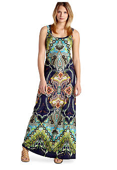 Karen Kane Electric Tide Paisley Scarf Print Maxi Dress