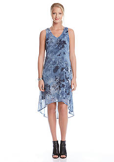 Karen Kane Floral V-Neck High Low Dress