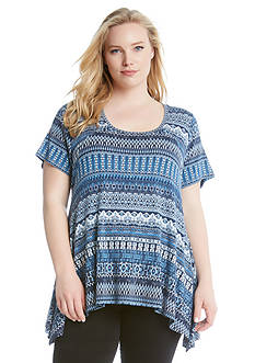 Karen Kane Plus Size Mosaic Stripe Handkerchief Top