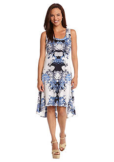 Karen Kane Las Palmas Spanish Scroll High-Low Hem Dress
