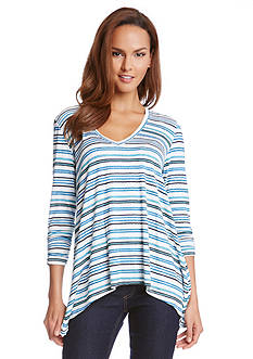 Karen Kane Striped Shark-bite Hem Top