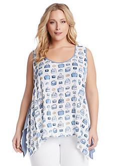 Karen Kane Plus Size Purse Print Top