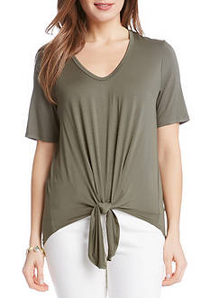 Karen Kane Short Sleeve Tie Front Top