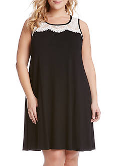 Karen Kane Plus Size Lace Yoke Trapeze Dress