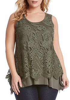 Karen Kane Plus Size Lace Overlay Handkerchief Tank