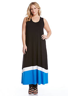 Karen Kane Plus Size Contrast Trim Maxi Tank Dress