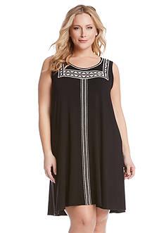 Karen Kane Plus Size Embroidered Trapeze Dress