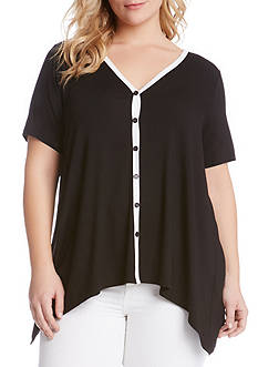 Karen Kane Plus Size Button Front Handkerchief Top