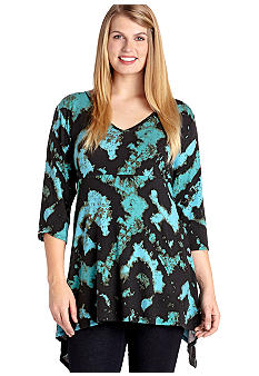 Karen Kane Plus Size Tie Dye Handkerchief Knit Top