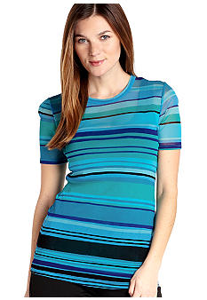 Karen Kane Cross Creek Striped Crew Neck Top