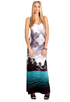Karen Kane Cross Creek Tropical Photo Maxi Dress