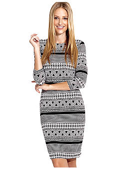 Karen Kane Cross Creek Geo Contrast Print Dress