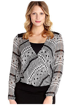 Karen Kane Cross Creek Contrast Blouson Wrap Top