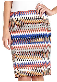 Karen Kane Melrose Zig Zag Printed Pencil Skirt