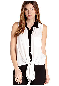Karen Kane Cross Creek Sleeveless Button Down Tie Top