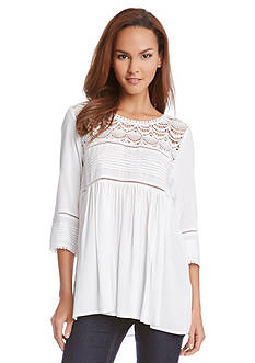 Karen Kane Lace Yoke Peasant Top
