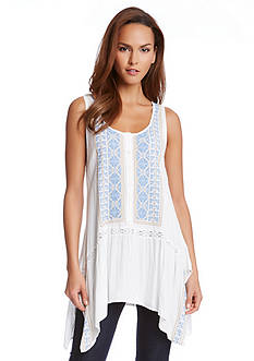 Karen Kane Embroidered Handkerchief Tank