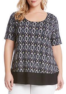 Karen Kane Plus Size Contrast Sheer Hem Top