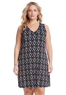 Karen Kane Plus Size Ikat Print Dress