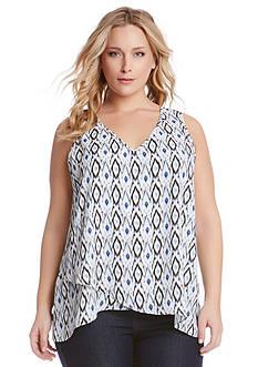 Karen Kane Plus Size Ikat Print Top