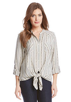 Karen Kane Roll Sleeve Tie Front Top