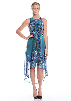 Karen Kane Printed Sheer High Low Dress