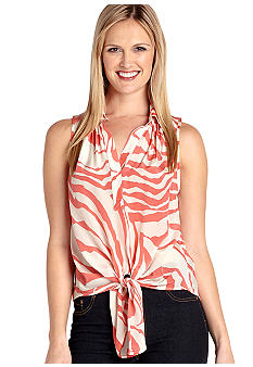 Karen Kane Melrose Kings Lane Printed Knot Top