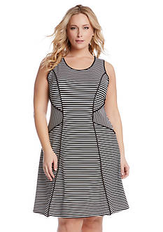 Karen Kane Plus Size Stripe Binding Dress
