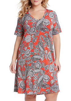 Karen Kane Plus Size Paisley V-Neck Dress