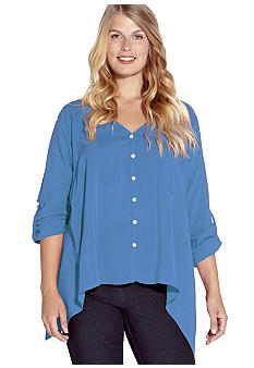 Karen Kane Plus Size Roll Sleeve Pocket Shirt