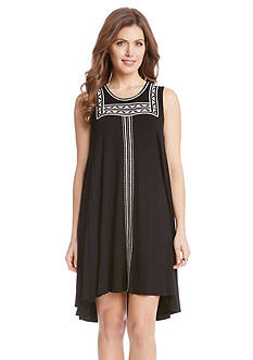 Karen Kane Embroidered Sleeveless Trapeze Dress