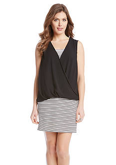 Karen Kane Stripe Drape Front Overlay Dress