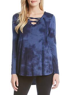 Karen Kane Tie Dye Lace-Up Top