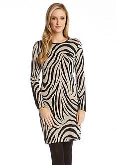 Karen Kane Faux Leather Panel Zebra Dress