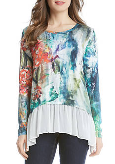 Karen Kane Painted Hydrangea Sheer Hem Top