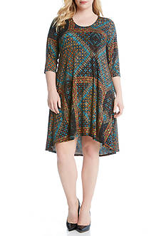 Karen Kane Plus Size Tile Mosaic Maggie Trapeze Dress