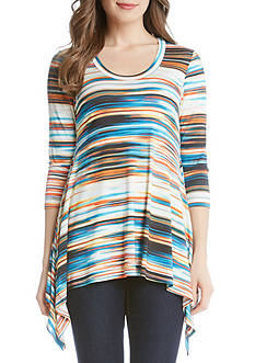 Karen Kane Watercolor Stripe Handkerchief Top